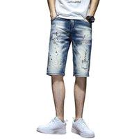 Мужские джинсы джинсовые джинсовые шорты мужчины растягиваются растягивающиеся 2021 летняя роспись насыщенной проблемной мужской панк-стиль
