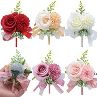 Flower Wrist Corsage Boutonniere Handmade Wristband Red Pink Artificial Peony Rose Corsages Wedding Bridesmaid Party Suit Decor DHE9770