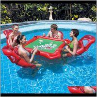 Gloats Tubi Waterpark Mahjong Tavolo da poker Set galleggiante fila gonfiabile sedia float divertimento pool giocattoli da esterno giocattoli all'aperto adulti di alta qualità T1 CR FE0QT