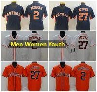 HoustonAstrosJerseys de béisbol 27 Jose Altuve 2 Alex Bregman White Home Cool Base Jersey Stitched Hombres Mujeres Tamaño juvenil -XXXXL
