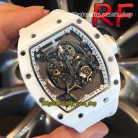 Edernity Sport Watches RF 055 Nano-Ceramic Composites حالة الهيكل العظمي الهاتفي اليابان Miyota التلقائي الميكانيكية RM055 رجل ووتش الشريط المطاط الأبيض نسخة عالية الجودة