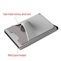 2021 NEW DIENQI Rfid Smart Wallet Credit Card Holder Metal Thin Slim Men Wallets Pass Secret pop up minimalist wallet small blac