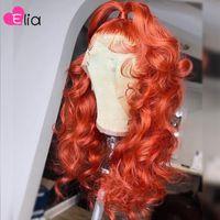 Elia Turuncu Kırmızı Dantel Ön Peruk Vücut Dalga İnsan Saç Peruk Remy Perulu 100% PRECKED Siyah Kadınlar için Şeffaf