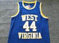 2021 Hommes à prix bas rétro classique Basketball Jersey West Virginie montagnards 44 Jerry College Jerseys Vintage Respirant Taille courte S-2XL Bleu Blanc Black Rouge