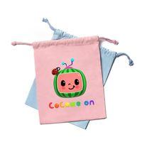 子供の日COCOMELON JJリトルボーイの家族の巾着バッグバックパック漫画プリントキャンバス収納バッグ素敵なかわいい男の子の女の子ギフトG33B4L2