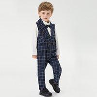 GÜZ Bebek Erkek Beyefendi Giyim Setleri Toddler Çocuk Yaka Uzun Kollu Gömlek + Siyah Ekose Yelek Dış Giyim + Kafes Pantolon 3 adet Çocuk Performans Giysileri A7210