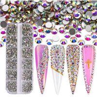 3600 stks / doos platte achterkant ab color crystal nagel strass verschillende kleuren 3d sieraden glazen diamant edelstenen nagels kunst decoratie diy ambachtelijke steentjes