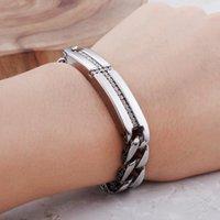 Link, Chain Vintage Men Women Stainless Steel Biker Cross Bracelet Curb Cuban Bracelets With Rhinestone Crystal Male Jewelry