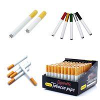 Tuyaux de tabagisme en forme de cigarette en métal 55mm 78mm Longueur Aluminium Portable Tabac Pipe à la main Bongs