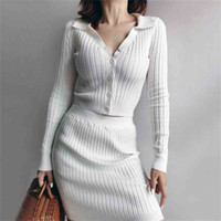 Women Co-ord Collared Button Through Ribbed Knit Cardigan And Mini Skirt Two Pieces 210512