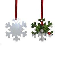 Sublimation Blank Christmas Ornament Double-Sided Xmas Tree Pendant Multi Shape Aluminum Plate Metal Hanging Tag Holidays DWF10820