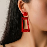 Stud Big Acetate Plate Earrings For Women Earing Jewelry Fashion Exaggerated Strip Trapezoid Colorful Pendant Gift