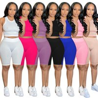 summer women short outfits tow pieces set tracksuit solid color Casual sleeveless Short suit sportswear new Ladies Jogging suit