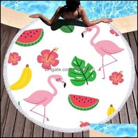 Textiles Home & Garden 150*150Cm Flamingo Beach Towel Polyester Tapestry Round Yoga Mats Tassel Beach- Shawl Wrap Mat Towels Picnic Cloth Cu