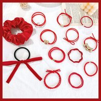 Chinese style new year ornament festive red headband Bracelet dual purpose rope loop hair ponytail rubber band headdress