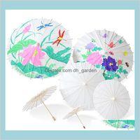 Chaussures de soleil à domicile Home Jardin Parasols en papier blanc Chinois Mini Craft Parapluie 4 Diamètre 20 30 40 60cm Parapluies de mariage pour