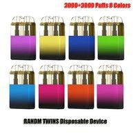 Authentic RANDM TWINS Disposable E Cigarettes Device 3000+3000 Puffs 550mAh Rechargeable Battery 7+7ml Mesh Wire Prefilled Cartridge Pod Vape Pen