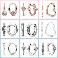 Hoop & Huggie 925 Sterling Silver Korean Heart Round Circle Earrings For Women Fashion Original Hoops Jewelry Brincos