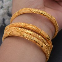 Bangle 4pcs Set 24K Dubai Gold Color African Bridal Wedding Bangles For Women Saudi Arab Bracelet&Bangles Jewelry