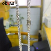 OEVAS 100% 925 Sterling Silver Sparkling Full 3mm 4mm High Carbon Diamond Tennis 45cm Chain Necklace Fine Jewelry Gift Wholesale