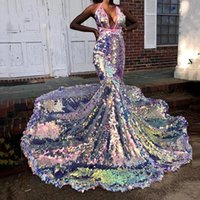 Robe African Sequins Prom Dresses Mermaid Evening Gown Arabic Dubai 2021 Customized Plus Size Woman Party Night Gowns