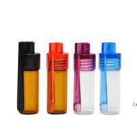 Botella de vidrio 36mm / 51mm Snuff Snorter Bullet Rocket Snortal Snuff con raspador Color aleatorio Píldora Caja de contenedor AHF6079