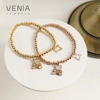 Charm Bracelets VENIA Cute Bear Shell Gold Bean Bracelet For Women Girls Titanium Stainless Steel Plated Fashion Jewelry