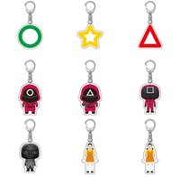 6CM Acrylic squid game key chain rings square circle triangle masked red solider robot girl dolls round two dalgona candy cake action figures cosplay props H109PC0