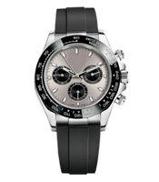 Montre Maîtrise en acier blanc de haute qualité, lunette en céramique, mouvement mécanique automatique, cadran noir, fermoir pliable