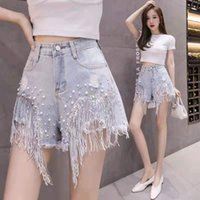 2021 Spring Summer New Denim Shorts Female High-waisted Diamond Sequins Fringed Hot Pants Short jeans for women