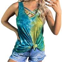 여성 T 셔츠 패션 디자이너 여름 그라디언트 민소매 탑 다재다능한 인쇄 티셔츠 폴로 딩 레깅스와 드레스
