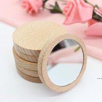 الخشب صغير جولة مرآة المحمولة جيب مرآة خشبية مصغرة ماكياج مرآة حفل زفاف صالح هدية HWF6181