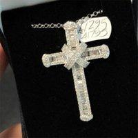 Handmade Long Diamond cz Cross Pendant Real 925 Sterling Silver Party Wedding Pendants Necklace For Women men moissanite Jewelry