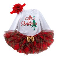 Christmas Baby Girls Outfits Newborn Clothing Sets Infant Clothes Long Sleeve Romper Jumpsuit Tutu Skir Flower Headbands 3Pcs B8476