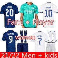 Gerçek Madrid Formalar 21 22 Erkek Çocuk Kiti Futbol Futbol Gömlek Tehlike Sergio Ramos Benzema Asensio Camiseta 2021 2022 Üçüncü Fanlar Oyuncu Sürümü