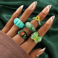 Wedding Rings 5pcs set INS Simple Resin Acrylic Couples Set For Women Colorful Butterfly Beaded Flowers Open Jewelry 19993