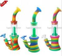 카모 색 실리콘 봉 실리콘 물 담뱃대 Shisha 물 파이프 휴대용 물 담뱃대 흡연 봉지 255mm 키 큰 FY2264