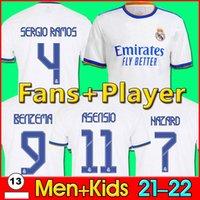 축구 유저 진짜 마드리드 22 벤제마 알라바 위험 팬 선수 Camiseta de Futbol 2021 2022 Kroos Modric Isco 축구 셔츠 남자 키즈 키트