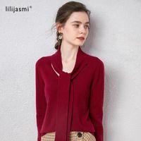 Unibody Knitting Women 100% Cashmere Scarf Collar de manga completa Pullover Ribbon Super Cómodo Suéter sin costura Cálido 2021 Jersey Suéteres de mujer