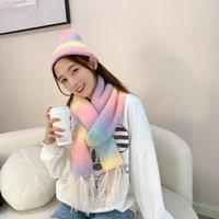 Scarves 2021 Autumn winter Women's Gradient Rainbow Tie-dye Imitation Wool Scarf Fashion Warm Colorful Street Cute Knitted Hat