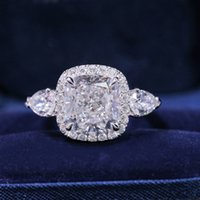 Cushion Cut Lab Moissanite Promise ring 925 Sterling silver Engagement Wedding Band Rings for women Bridal Finger Jewelry