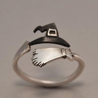 Cluster Rings Fashion Halloween Ghost Witch Hat Broom Opening Ring Creative Copper Jewelry For Women Girls Party Accessary Wholesale