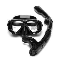 Máscaras de mergulho máscara snorkel conjunto de respiração tubo de silicone headband nadando snorkeling vidro temperado (miopia personalizado)