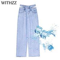 Jeans da donna con i pantaloni in denim a vita alta estate antiscivolo in fibra di ghiaccio in fibra di ossigeno larga ghiaccio