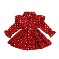 Blotona 크리스마스 유아 아이 아기 소녀 옷 프릴 스윙 드레스 폴카 도트 파티 드레스 1-7Y 1844 Y2