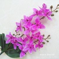 Real Touch 3 Forquilhas Artificiais Orquídeas Com Folhas Atacado Casamento Decorativo Cymbidium Flor Falso East Asia Flores 6 pçs / lote Grinaldas