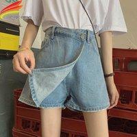 Pantaloncini per sotto gonna 2021 Arrivo estivo Stile coreano in vita alta vita in denim jeans jeans tasche da donna corta