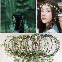 Corona de ratán diadente de novia novia novia niña cabeza flor corona guirnalda hawaii cabeza flor guirnalda dama de honor bohemian bandas de pelo decoración L616G5K7