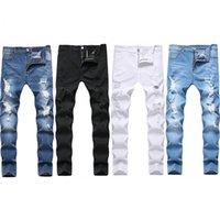 جينز للرجال 2021 الأزرق أسود أبيض sweatpants مثير هول السراويل عارضة الذكور ممزق نحيل السراويل ضئيلة السائق أبلى