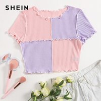 Women's T-Shirt SHEIN Multicolor Seam Front Colorblock Crop Tee Women Summer Short Sleeve Round Neck T Shirt Ladies Rib-Knit Casual Tops